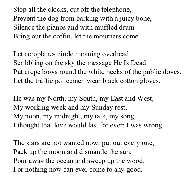 valentine and funeral blues essay Funeral blues essaysthe poem funeral blues, written by w h auden, is  based on a loved one who is deceased the poem is written based on.
